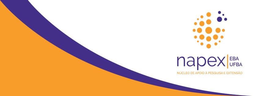 Cartaz com letras e grafismos em lilás e laranja sobre fundo branco