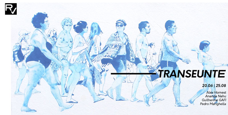 Ilustração em azul quase transparente representando pessoas a caminhar